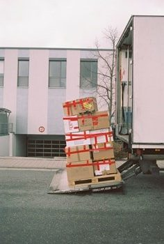 a u-haul truck with packed up belongings